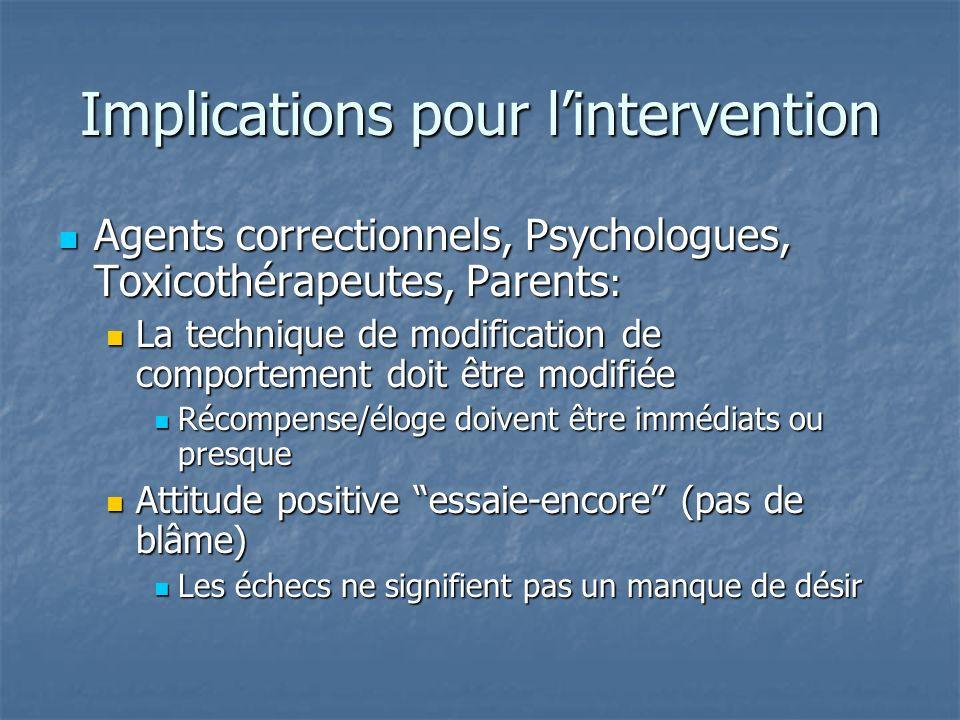 Implications pour lintervention Agents correctionnels, Psychologues, Toxicothérapeutes, Parents : Agents correctionnels, Psychologues, Toxicothérapeut
