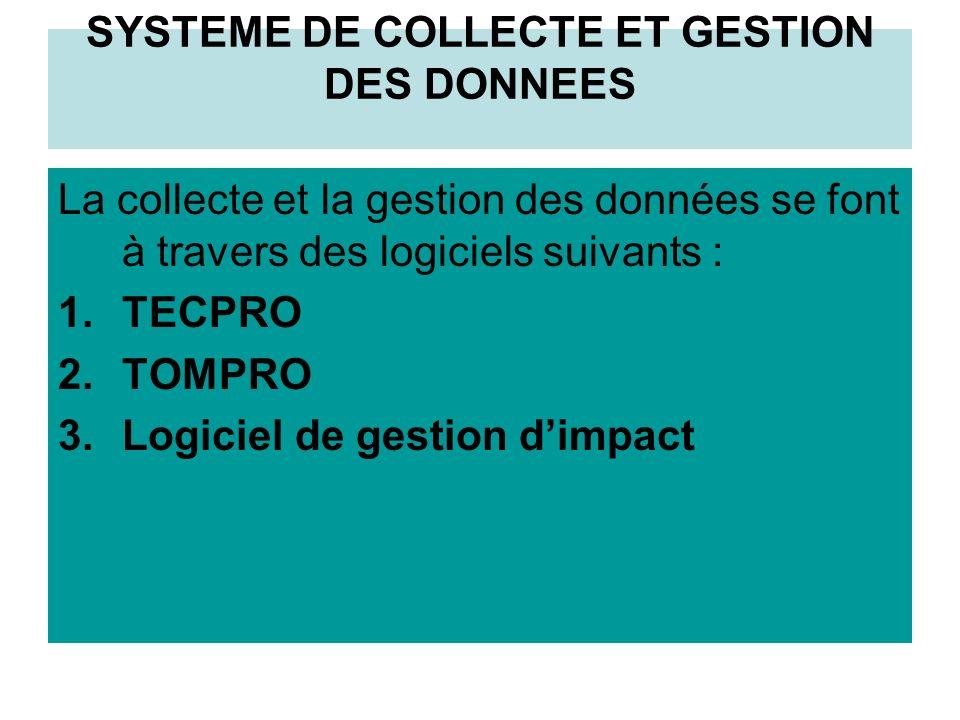 SYSTEME DE COLLECTE ET GESTION DES DONNEES La collecte et la gestion des données se font à travers des logiciels suivants : 1.TECPRO 2.TOMPRO 3.Logiciel de gestion dimpact