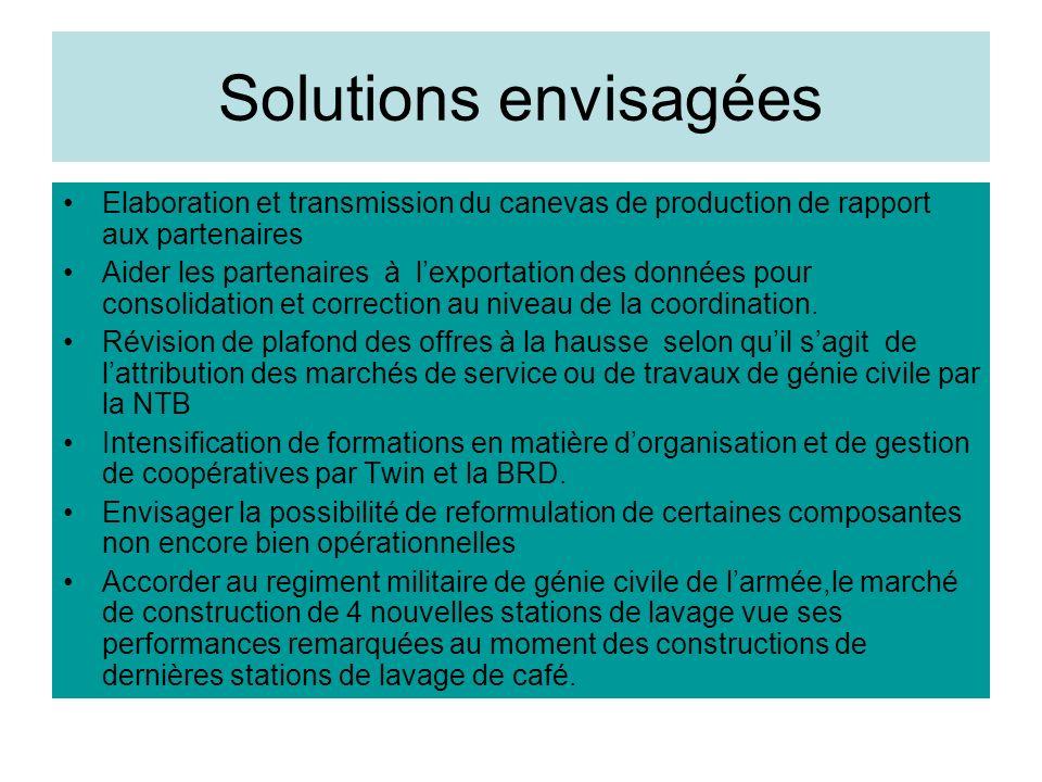 Solutions envisagées Elaboration et transmission du canevas de production de rapport aux partenaires Aider les partenaires à lexportation des données pour consolidation et correction au niveau de la coordination.