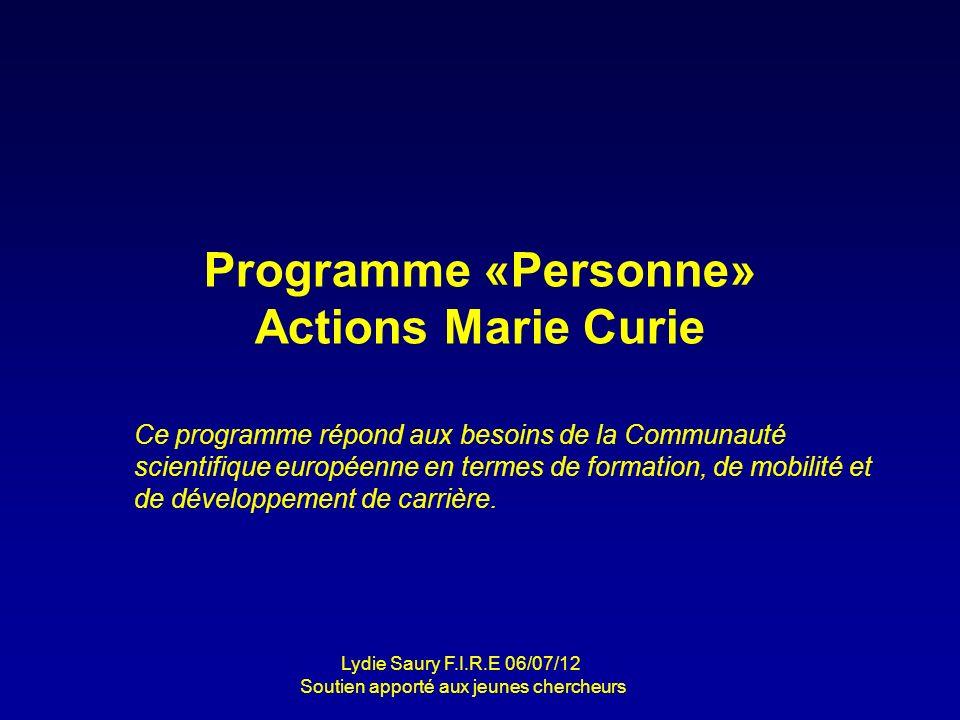 Programme «Personne» Actions Marie Curie Ce programme répond aux besoins de la Communauté scientifique européenne en termes de formation, de mobilité