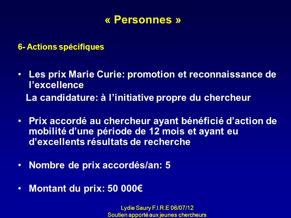 « Personnes » Les prix Marie Curie: promotion et reconnaissance de lexcellence La candidature: à linitiative propre du chercheur Prix accordé au cherc