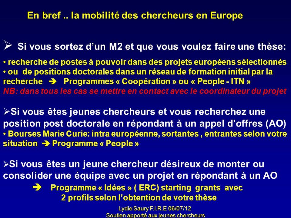 En bref.. la mobilité des chercheurs en Europe Si vous sortez dun M2 et que vous voulez faire une thèse: recherche de postes à pouvoir dans des projet