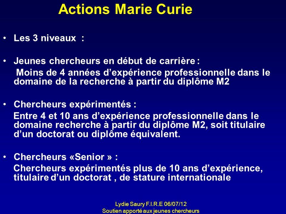 Actions Marie Curie Les 3 niveaux : Jeunes chercheurs en début de carrière : Moins de 4 années dexpérience professionnelle dans le domaine de la reche