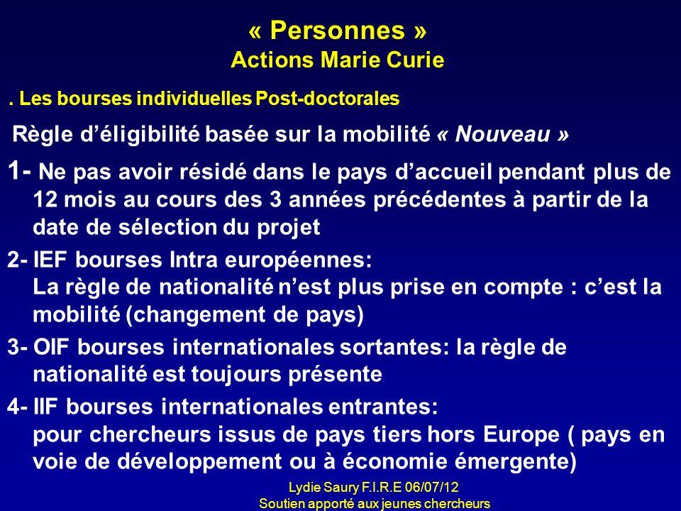 « Personnes » Actions Marie Curie Règle déligibilité basée sur la mobilité « Nouveau » 1- Ne pas avoir résidé dans le pays daccueil pendant plus de 12