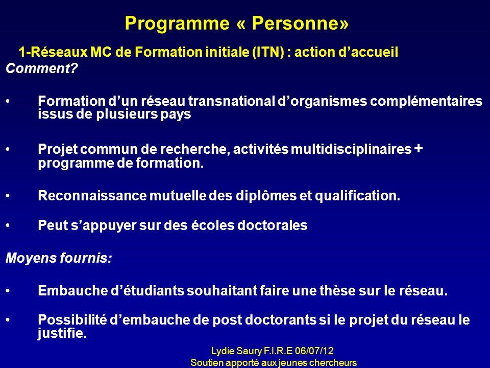 Programme « Personne» Comment? Formation dun réseau transnational dorganismes complémentaires issus de plusieurs pays Projet commun de recherche, acti