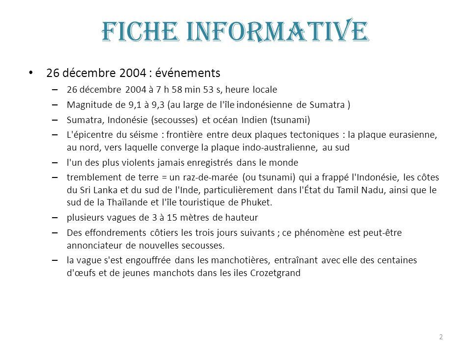 2 Fiche informative 26 décembre 2004 : événements – 26 décembre 2004 à 7 h 58 min 53 s, heure locale – Magnitude de 9,1 à 9,3 (au large de l'île indon