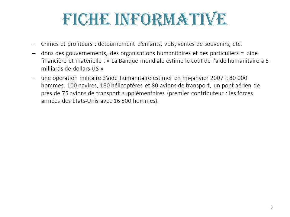 5 Fiche informative – Crimes et profiteurs : détournement denfants, vols, ventes de souvenirs, etc. – dons des gouvernements, des organisations humani