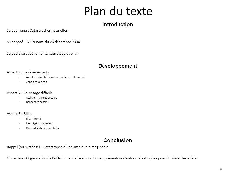 8 Plan du texte Introduction Sujet amené : Catastrophes naturelles Sujet posé : Le Tsunami du 26 décembre 2004 Sujet divisé : événements, sauvetage et