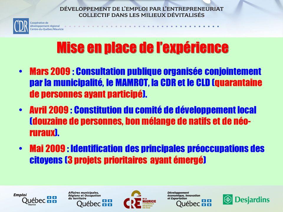 Mise en place de lexpérience Mars 2009 : Consultation publique organisée conjointement par la municipalité, le MAMROT, la CDR et le CLD (quarantaine d