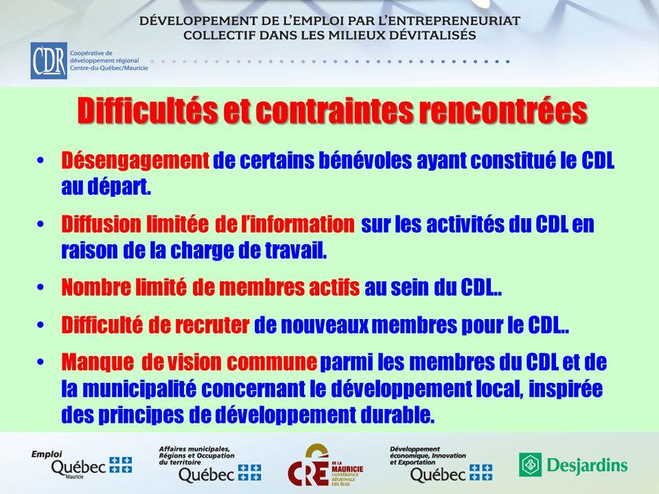 Difficultés et contraintes rencontrées Désengagement de certains bénévoles ayant constitué le CDL au départ. Diffusion limitée de linformation sur les
