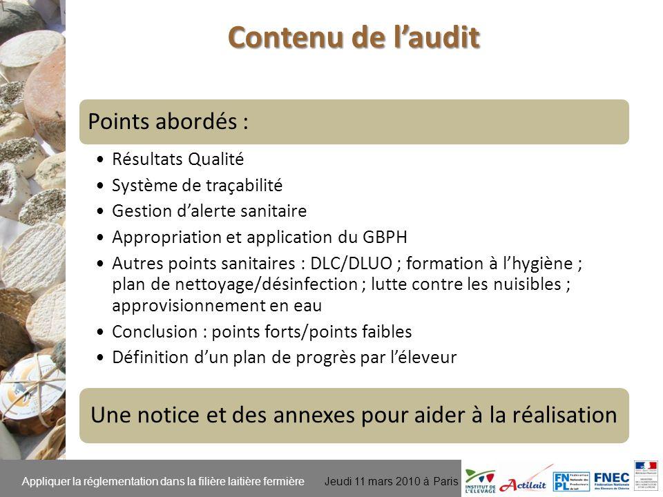 Appliquer la réglementation dans la filière laitière fermière Jeudi 11 mars 2010 à Paris Contenu de laudit Points abordés : Résultats Qualité Système