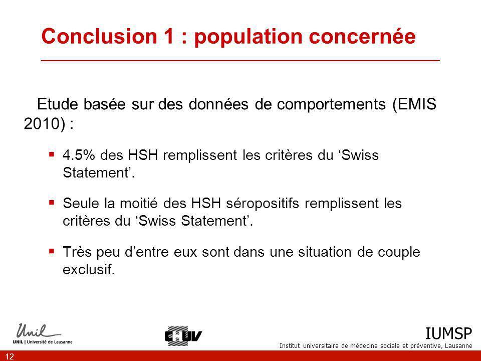 IUMSP Institut universitaire de médecine sociale et préventive, Lausanne 12 Conclusion 1 : population concernée ___________________________________________________________________ Etude basée sur des données de comportements (EMIS 2010) : 4.5% des HSH remplissent les critères du Swiss Statement.