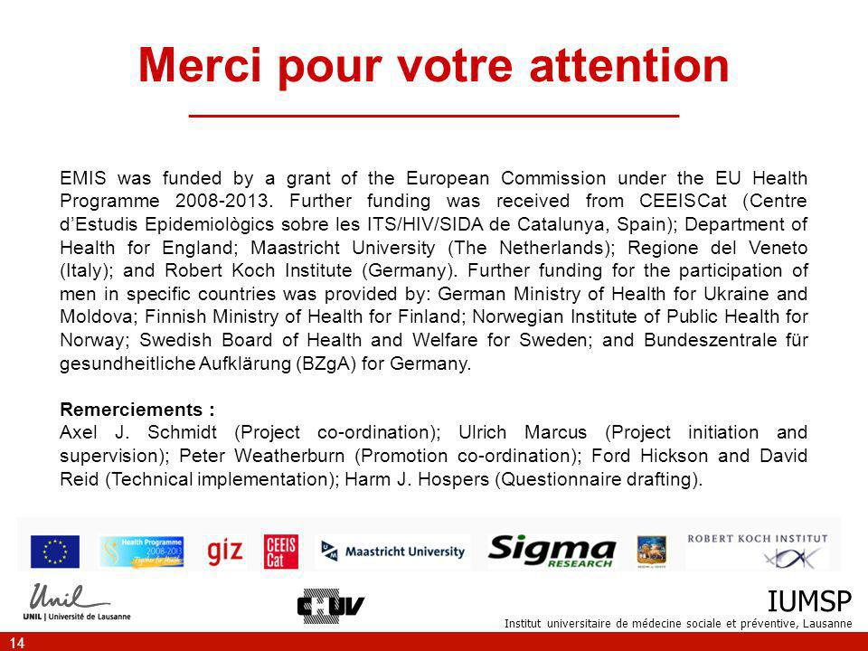 IUMSP Institut universitaire de médecine sociale et préventive, Lausanne 14 Merci pour votre attention _________________________________________ EMIS was funded by a grant of the European Commission under the EU Health Programme 2008-2013.