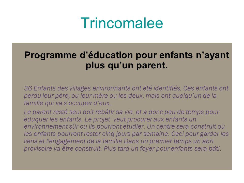 Trincomalee Programme déducation pour enfants nayant plus quun parent. 36 Enfants des villages environnants ont été identifiés. Ces enfants ont perdu
