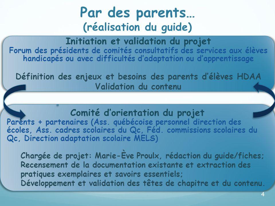 4 Assemblée des présidents des comités consultatifs des services aux élèves HDAA (FCPQ) A défini les enjeux et besoins des parents délèves EHDAA. Comi
