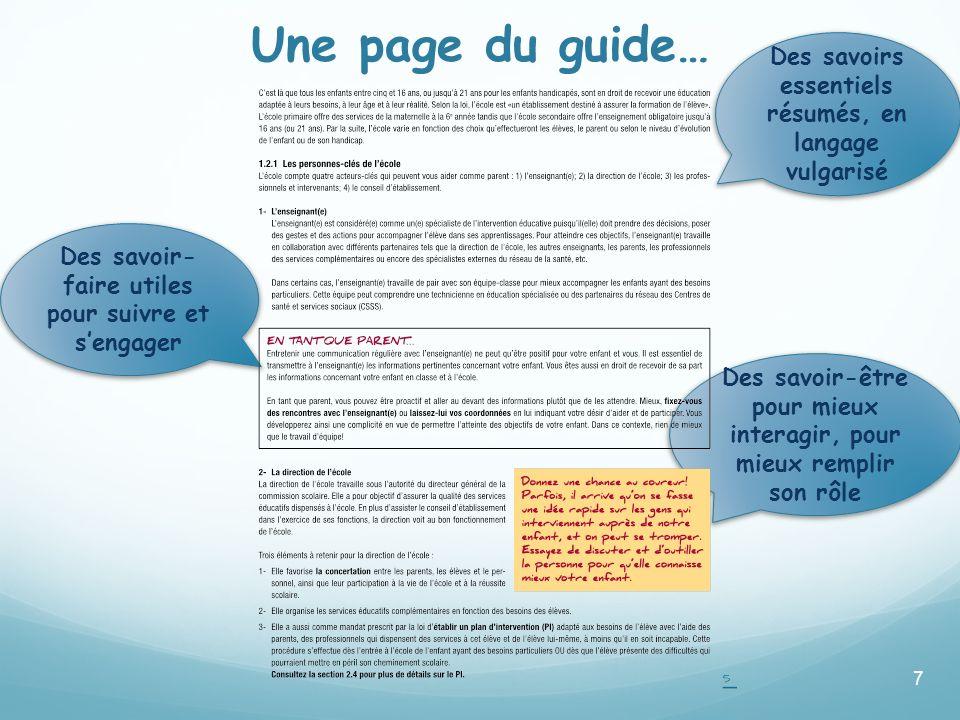 Des savoir-être pour mieux interagir, pour mieux remplir son rôle Des savoir- faire utiles pour suivre et sengager Une page du guide… 7 Exemple de pag