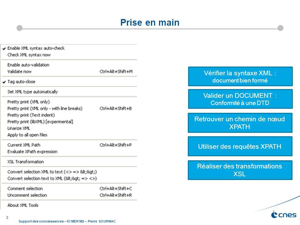 3 Support des connaissances – IO MER M2 – Pierre SOURNAC Prise en main Vérifier la syntaxe XML : document bien formé Valider un DOCUMENT : Conformité