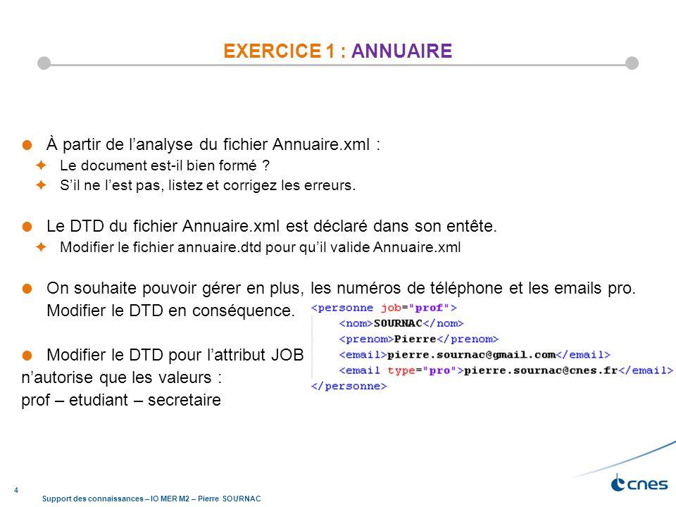 4 Support des connaissances – IO MER M2 – Pierre SOURNAC EXERCICE 1 : ANNUAIRE À partir de lanalyse du fichier Annuaire.xml : Le document est-il bien