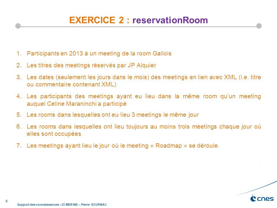 6 Support des connaissances – IO MER M2 – Pierre SOURNAC EXERCICE 2 : reservationRoom 1.Participants en 2013 à un meeting de la room Gallois 2.Les tit