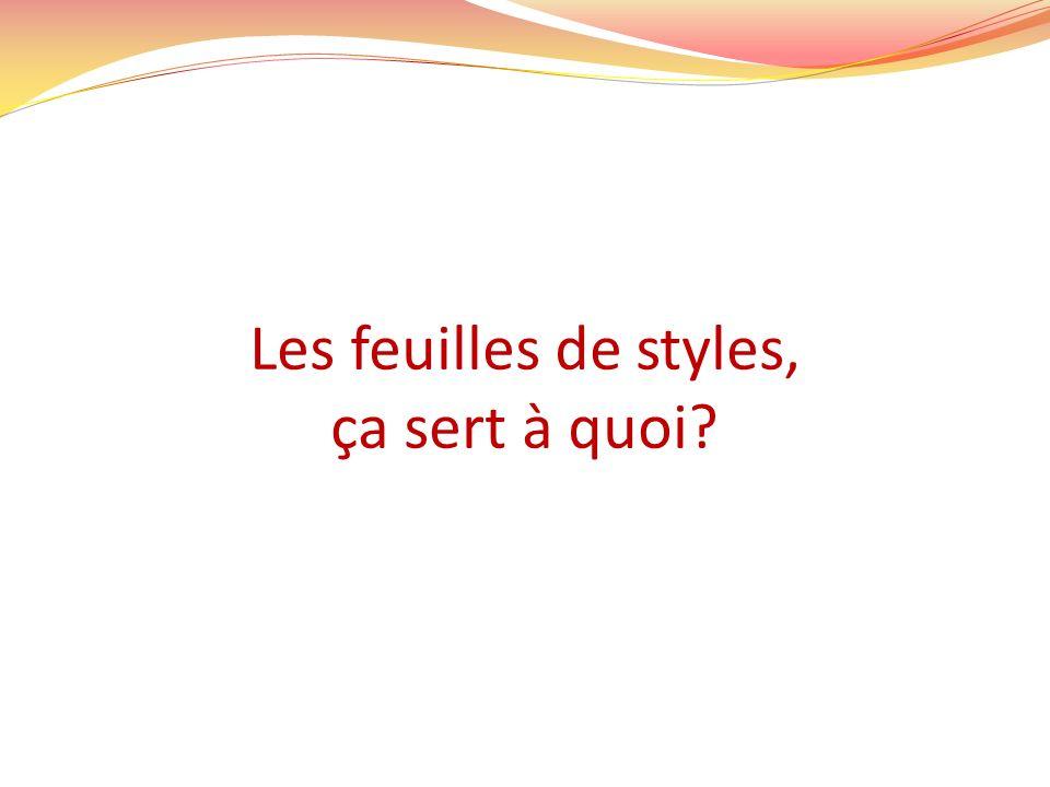 Les feuilles de styles Elles permettent le formatage et la mise en page de la page Web.
