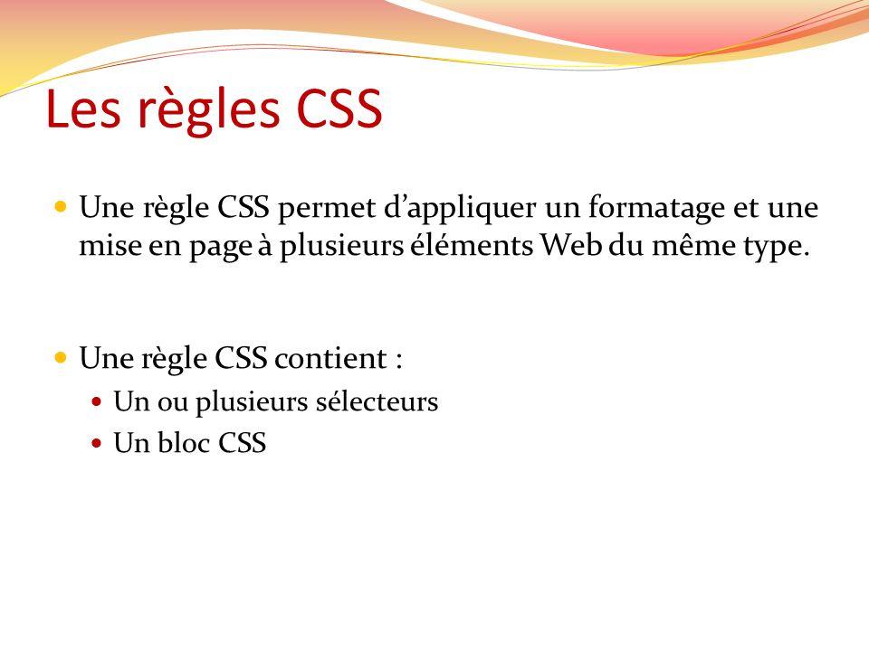 Syntaxe selecteur(s) { bloc CSS } Exemple: h1 { margin: 10px 0 0 10px; padding: 0; font-size : 12px; }