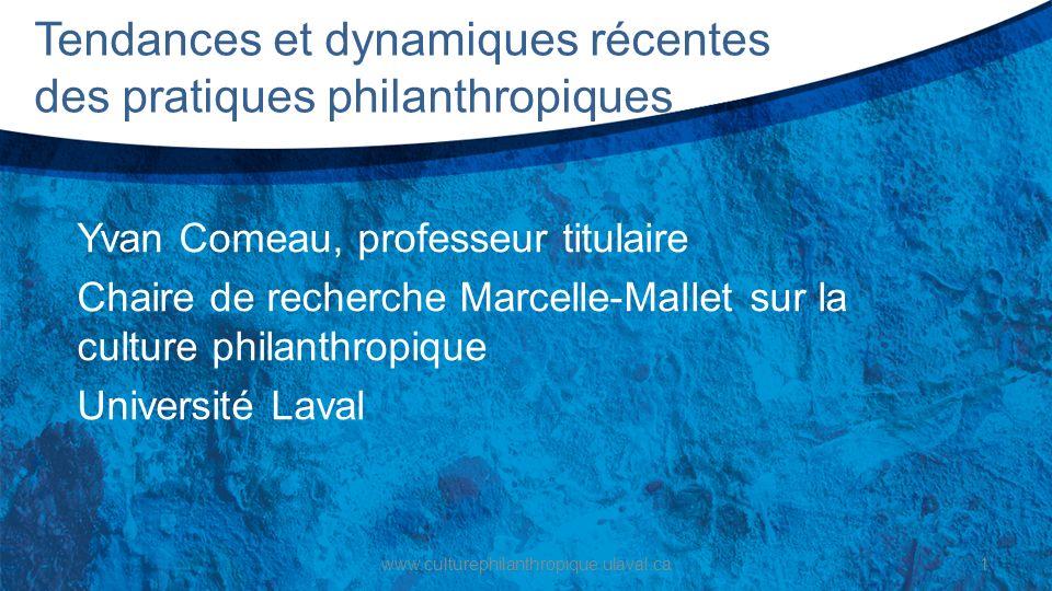 Tendances et dynamiques récentes des pratiques philanthropiques Yvan Comeau, professeur titulaire Chaire de recherche Marcelle-Mallet sur la culture p