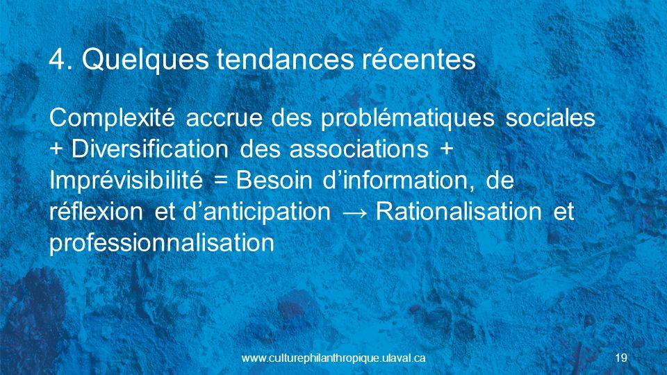 4. Quelques tendances récentes Complexité accrue des problématiques sociales + Diversification des associations + Imprévisibilité = Besoin dinformatio