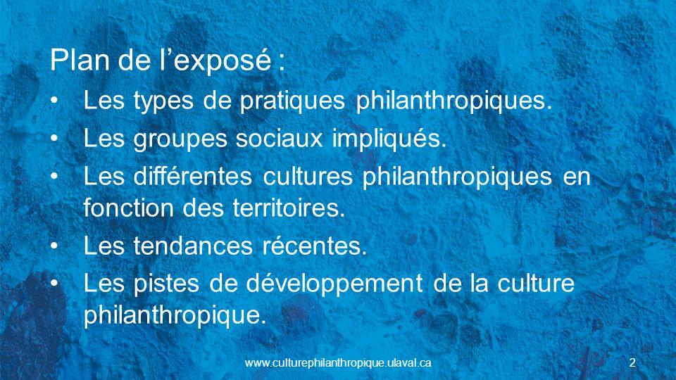 Plan de lexposé : Les types de pratiques philanthropiques. Les groupes sociaux impliqués. Les différentes cultures philanthropiques en fonction des te