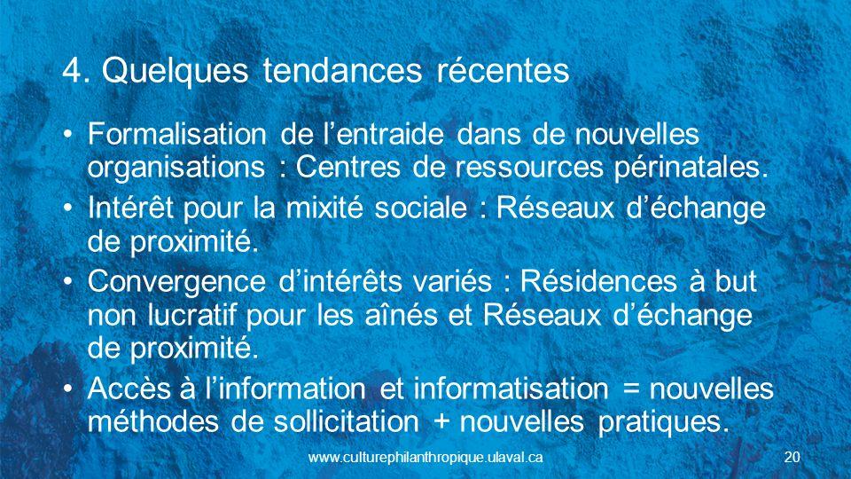 4. Quelques tendances récentes Formalisation de lentraide dans de nouvelles organisations : Centres de ressources périnatales. Intérêt pour la mixité
