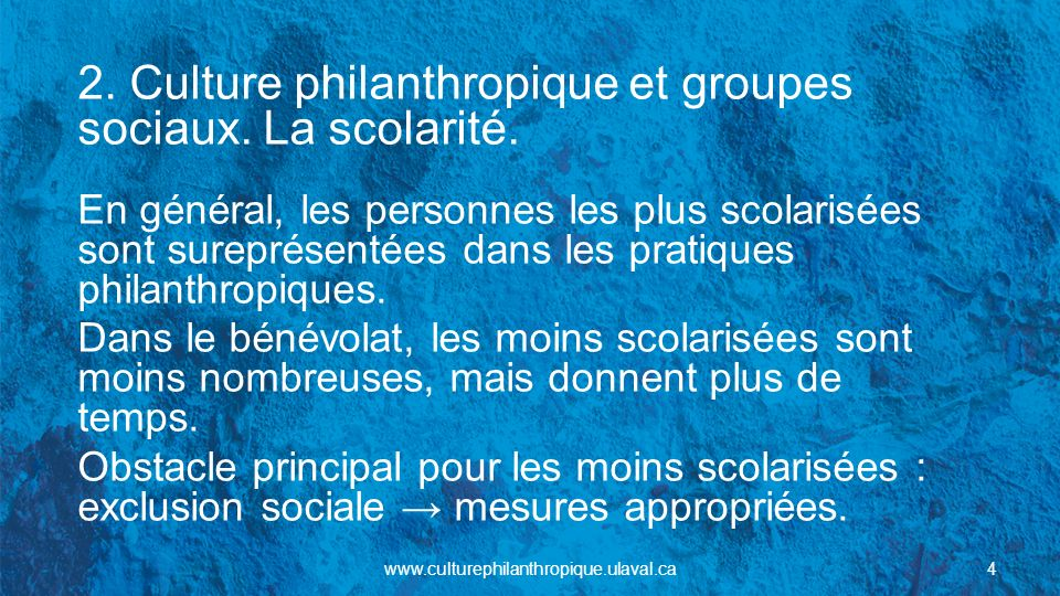 2. Culture philanthropique et groupes sociaux. La scolarité.