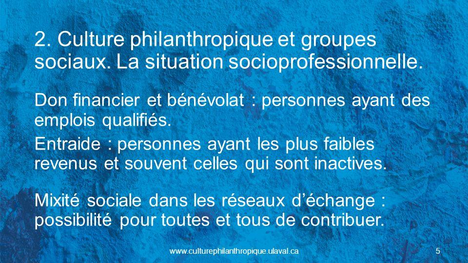 2. Culture philanthropique et groupes sociaux. La situation socioprofessionnelle. Don financier et bénévolat : personnes ayant des emplois qualifiés.