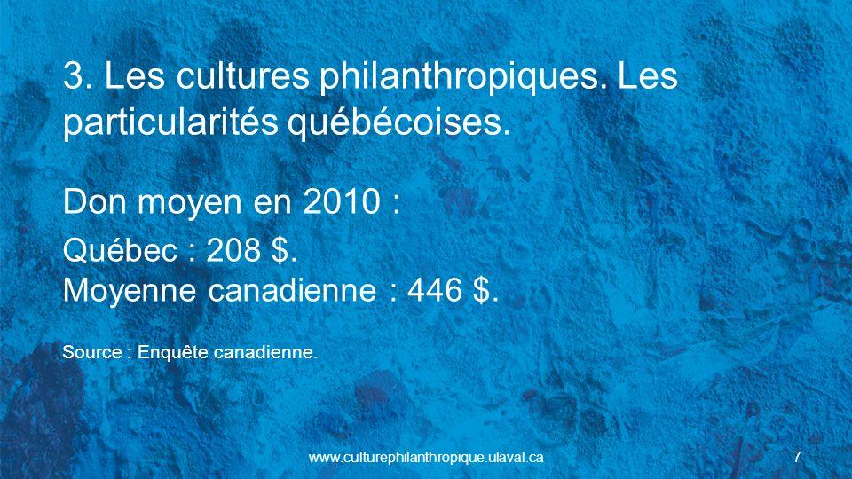3.Les cultures philanthropiques. Les facteurs qui différencient les provinces.