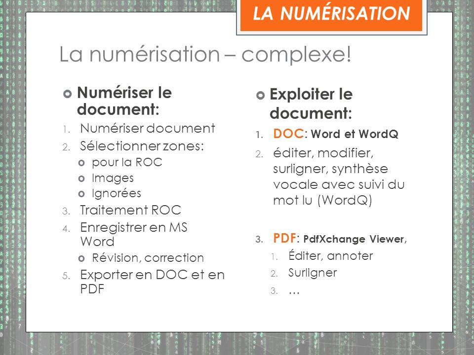 La numérisation – complexe.Numériser le document: 1.