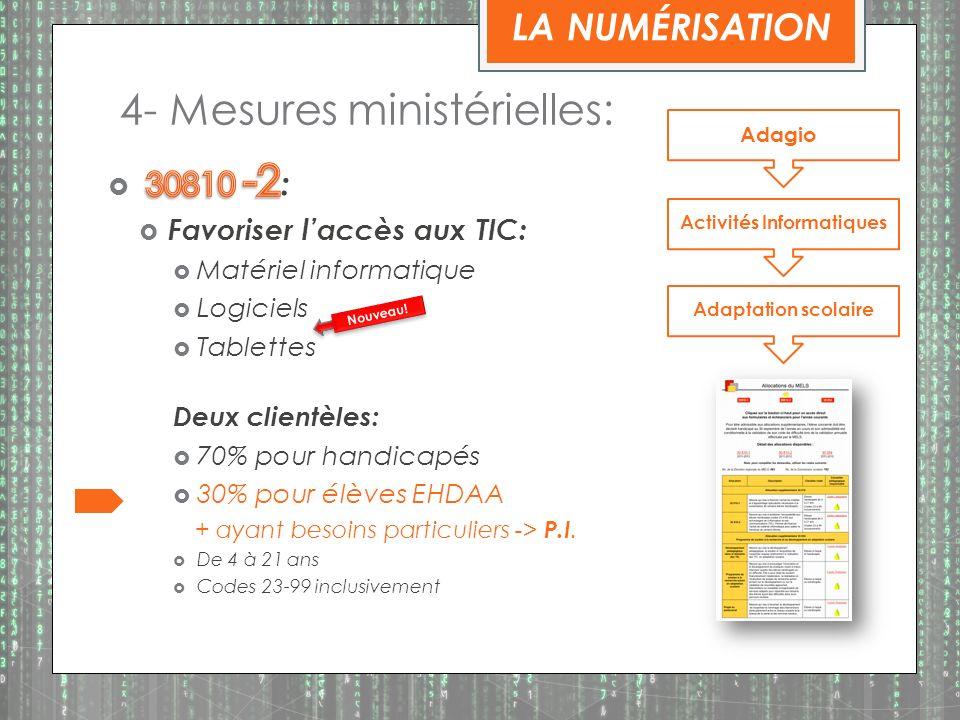 4- Mesures ministérielles: Adagio Activités Informatiques Adaptation scolaire Nouveau.