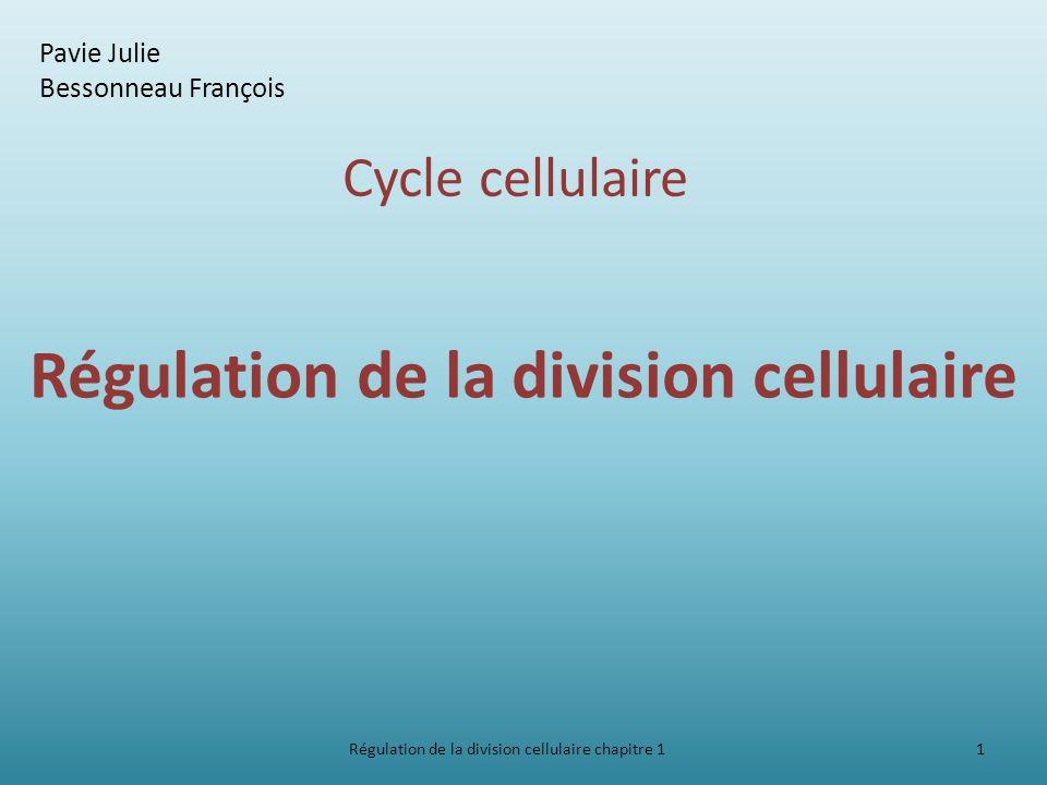 Introduction La cellule dispose dun système de régulation pour assurer 2 rôles : lordre immuable de la succession des 4 phases lobtention de 2 cellules filles génétiquement identiques Régulation de la division cellulaire chapitre 1 2