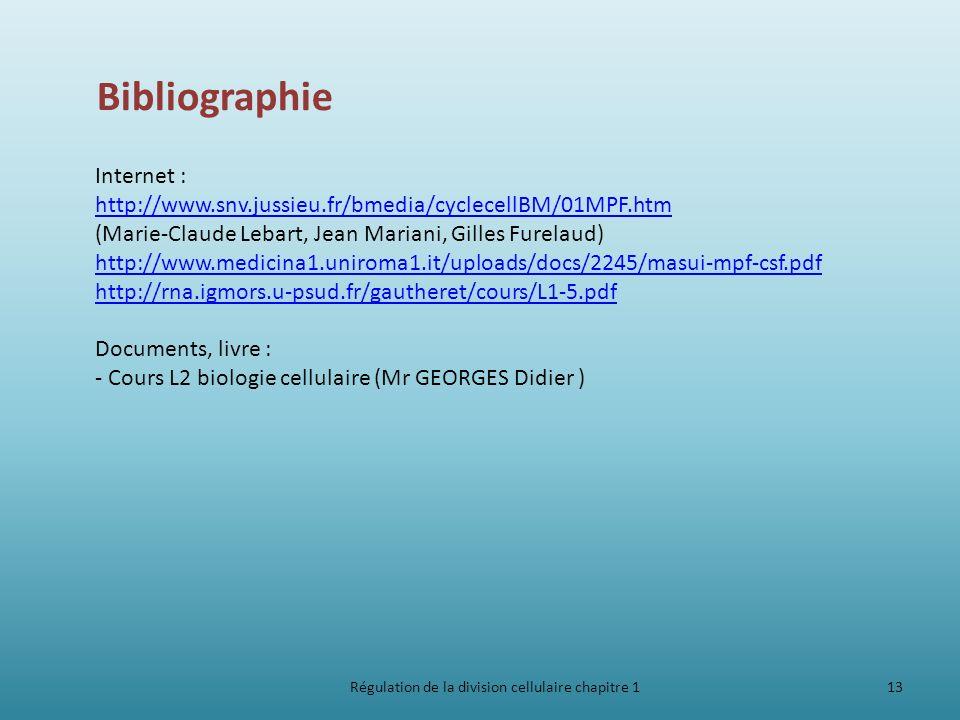 Régulation de la division cellulaire chapitre 113 Bibliographie Internet : http://www.snv.jussieu.fr/bmedia/cyclecellBM/01MPF.htm http://www.snv.jussi