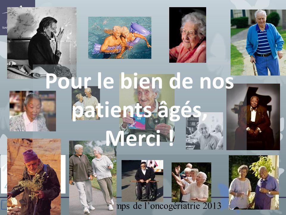 Printemps de loncogériatrie 2013 CN022 Pour le bien de nos patients âgés, Merci !