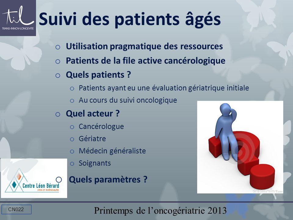 Printemps de loncogériatrie 2013 CN022 Suivi des patients âgés o Utilisation pragmatique des ressources o Patients de la file active cancérologique o