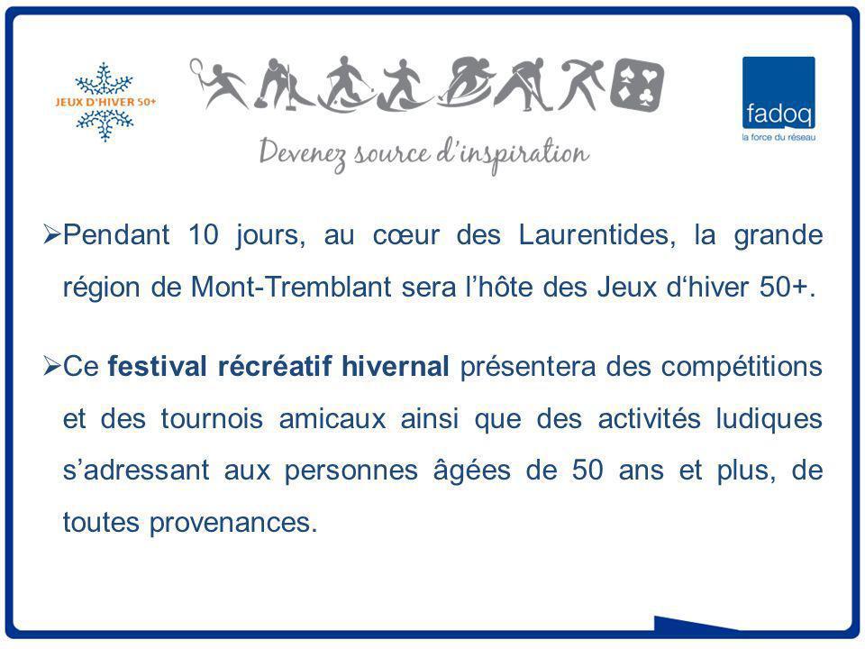 Pendant 10 jours, au cœur des Laurentides, la grande région de Mont-Tremblant sera lhôte des Jeux dhiver 50+.