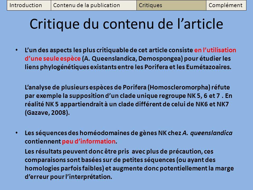 Critique du contenu de larticle Lun des aspects les plus critiquable de cet article consiste en lutilisation dune seule espèce (A.