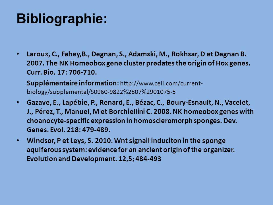 Laroux, C., Fahey,B., Degnan, S., Adamski, M., Rokhsar, D et Degnan B.