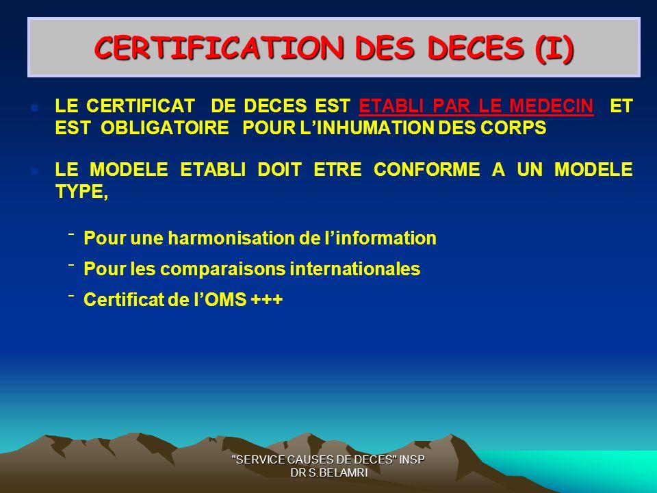 SERVICE CAUSES DE DECES INSP DR S.BELAMRI CERTIFICATION DES DECES (I) LE CERTIFICAT DE DECES EST ETABLI PAR LE MEDECIN ET EST OBLIGATOIRE POUR LINHUMATION DES CORPS LE MODELE ETABLI DOIT ETRE CONFORME A UN MODELE TYPE, Pour une harmonisation de linformation Pour les comparaisons internationales Certificat de lOMS +++