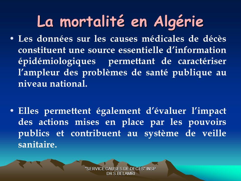 La mortalité en Algérie Les données sur les causes médicales de décès constituent une source essentielle dinformation épidémiologiques permettant de caractériser lampleur des problèmes de santé publique au niveau national.