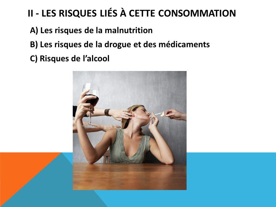 II - LES RISQUES LIÉS À CETTE CONSOMMATION A) Les risques de la malnutrition B) Les risques de la drogue et des médicaments C) Risques de lalcool