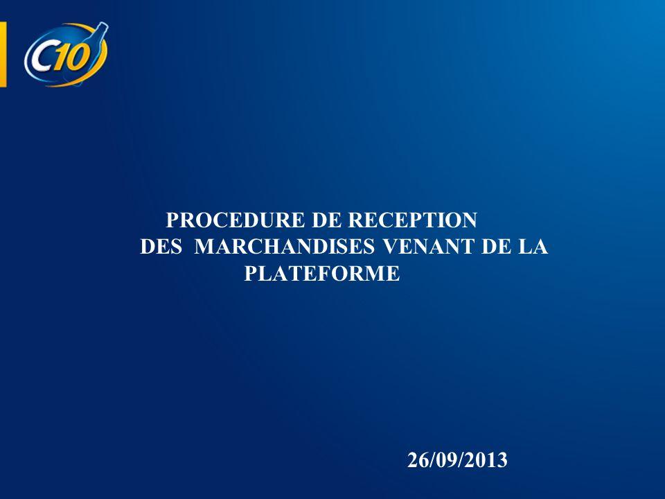 1/ PROCEDURE DE RECEPTON MARCHANDISES A En présence du Conducteur : Contrôle de lintégrité de la bande de garantie et du film protecteur.