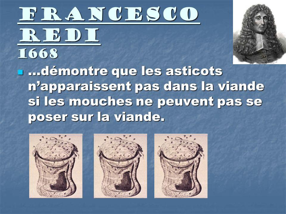 Francesco Redi 1668 …démontre que les asticots napparaissent pas dans la viande si les mouches ne peuvent pas se poser sur la viande. …démontre que le