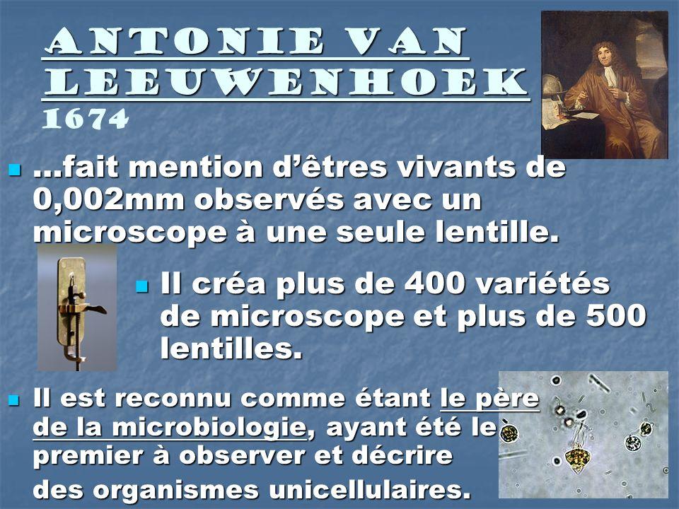 Antonie Van Leeuwenhoek Antonie Van Leeuwenhoek 1674 …fait mention dêtres vivants de 0,002mm observés avec un microscope à une seule lentille. …fait m