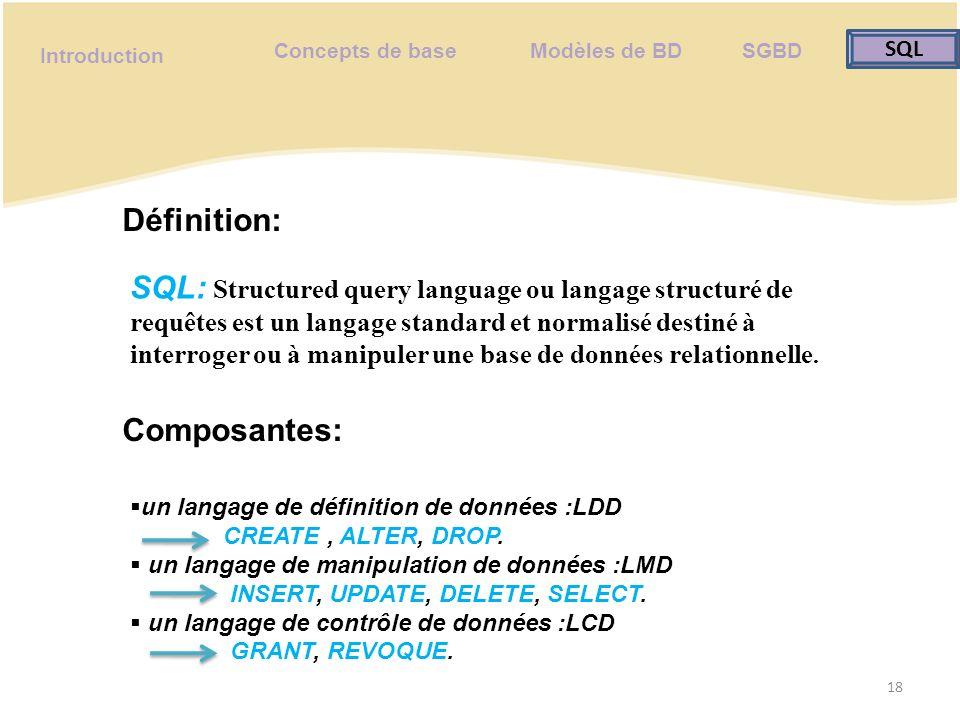 Concepts de base Modèles de BD SGBD SQL SQL Introduction Requête: 19 Une requête est un Ordre ayant une syntaxe précise envoyé à un SGBD pour manipuler et récupérer des données d une base de données.