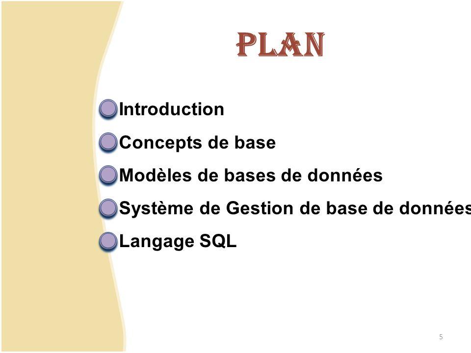Concepts de base Modèles de BD SGBD SQL Les activités humaines génèrent un volume de données qui ne cesse de croitre Dans les entreprises, on manipule souvent des données ayant la même structure.