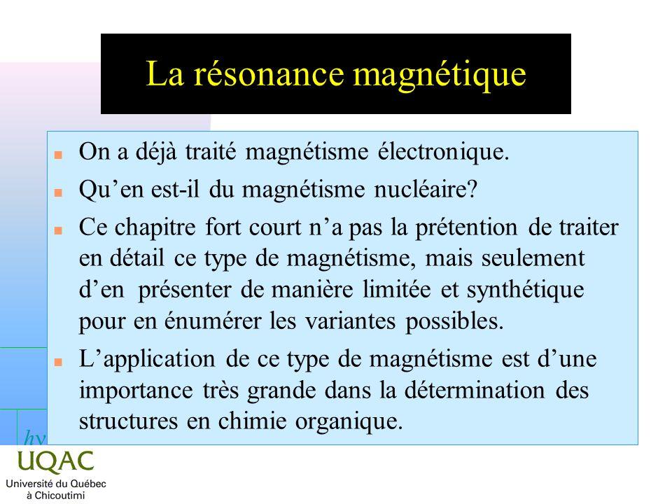 h Principe de la méthode n Soit une molécule ayant un moment magnétique µ non nul.